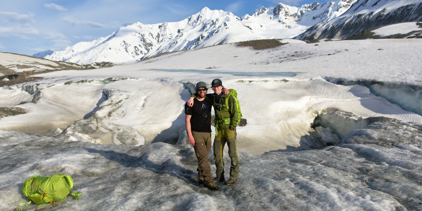 Lee and Cat on the Canwell Glacier in the Eastern Alaska Range