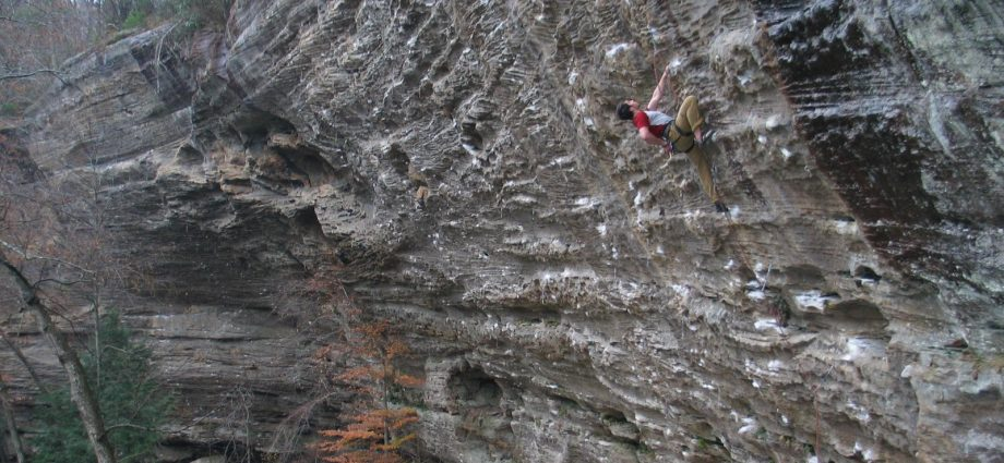 Lee Petersen climbing at Red River Gorge in Kentucky